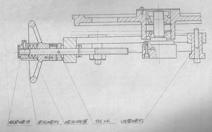 右下角装有冷却液箱,在锯床内腔的左边装有液压油,中部装有拉升弹簧图片